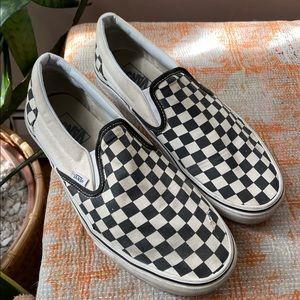 Men's size 10 checkered Vans slip-ons